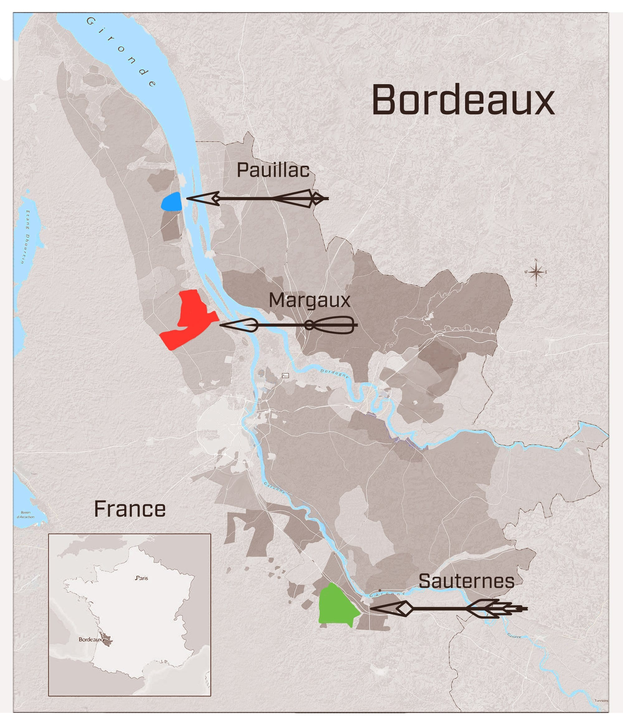 Bordeaux Wine Appellations Map